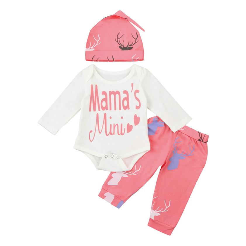 3pcs Letter Baby Girl clothes Newborns Clothing Christmas Costumes Set Romper+Pants+Hat Outfits L1130