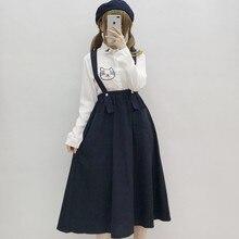 """Женский повседневный миди сарафан японского стиля""""Preppy Style"""",темно-синего цвета,с карманами, милая хлопковая-льняная полотно юбка для девушек"""