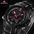 NAVIFORCE часы мужские Спортивные часы Черный сталь Dual time Цифровые Кварцевые Часы водонепроницаемые повседневная бизнес японии movt наручные часы