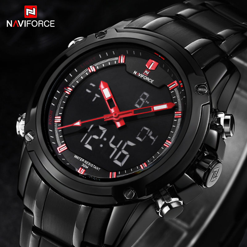 NAVIFORCE Brand Mens Sport Watch Men 30M Waterproof Quartz Watches Stainless Steel Band Analog LED Digital Display Wristwatches weide brand irregular man sport watches water resistance quartz analog digital display stainless steel running watches for men
