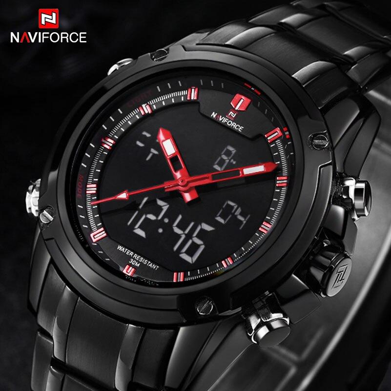 NAVIFORCE watches font b men b font Sports watches Black steel Dual time Digital Quartz Watch
