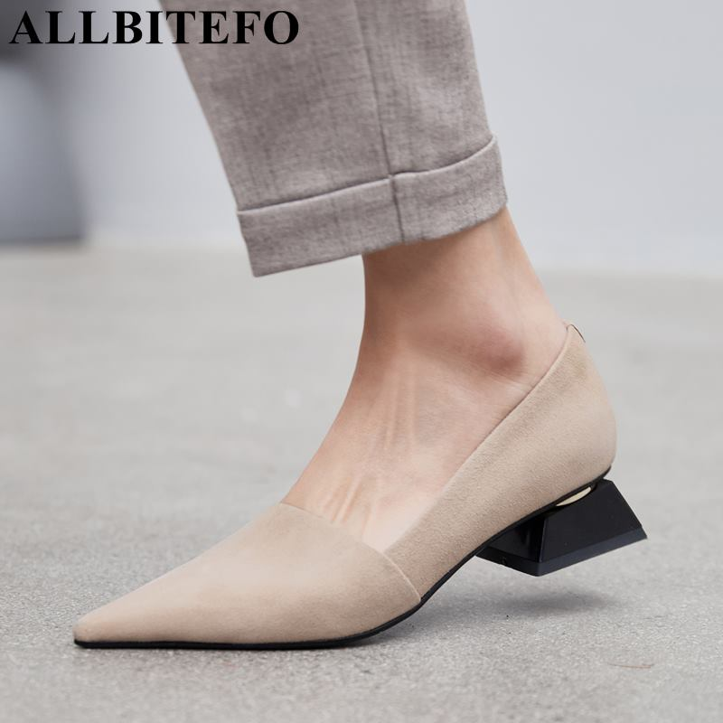 ALLBITEFO top quality soft genuine leather women heels comfortable pointed toe fashion high heel shoes ladies