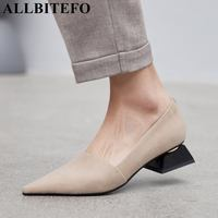 ALLBITEFO top quality soft genuine leather women heels comfortable pointed toe fashion ladies girls low heel shoes woman pumps