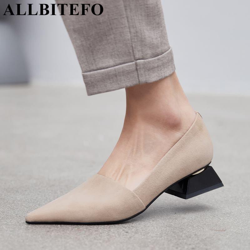 3b2e0ea9db ALLBITEFO top quality soft genuine leather women heels comfortable pointed  toe fashion high heel shoes ladies girls high heels