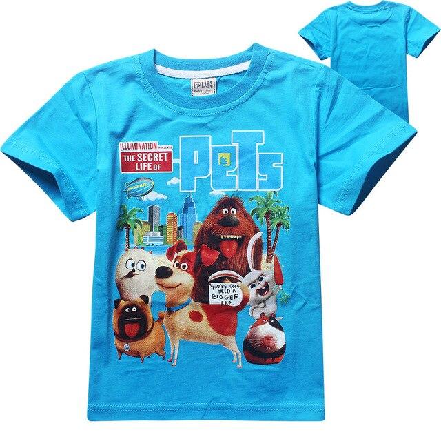 3-12 лет летние Новые 2016 мальчики футболка дети ребенок тайная Жизнь Домашних Животных детская одежда одежда для девочек футболки Мальчик топы