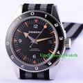 Debert 41mm Sapphire Glass Watch Fabric Strap Miyota Movement Automatic Horloges Black Dial Rotatable Ceramic Bezel Relojes