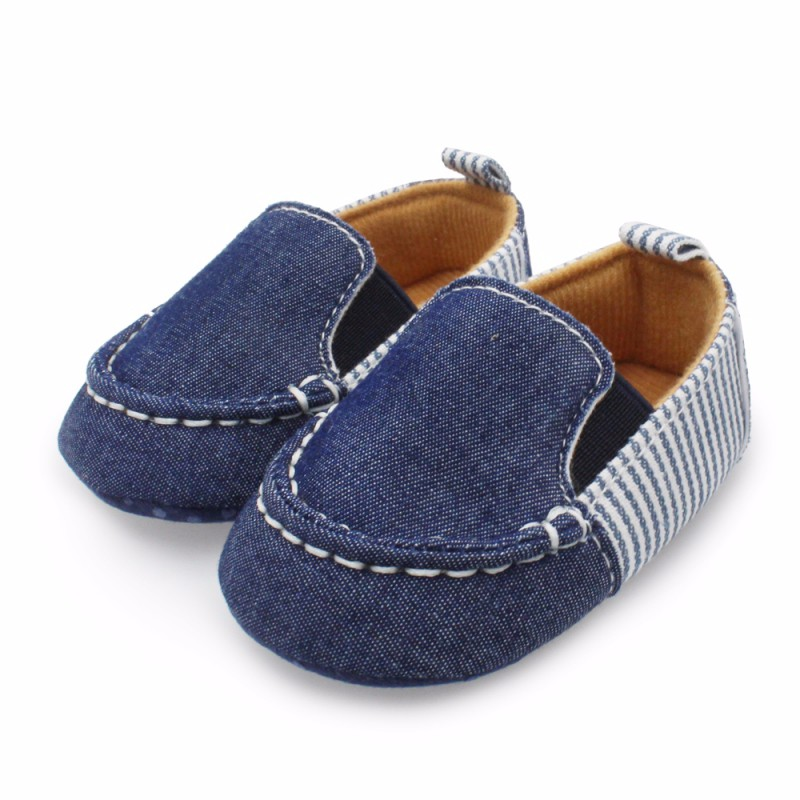 Spring Autumn Kids Baby Boys Girls Stripes Canvas Sneakers Soft Bottom Shoes First Walkers Wear 12