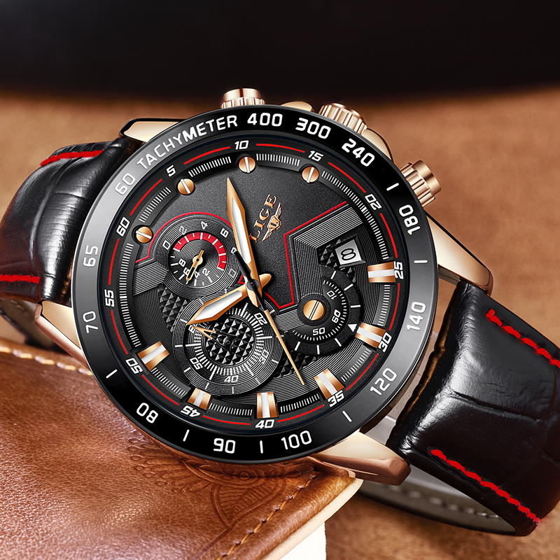 LIGE Hot Men Casual Fashion Watch Luxury Brand Waterproof Sports Leather Quartz Wristwatches Mens Military Style Clock Male Gift burei brand men women dress quartz watch new hand couples table clock real leather fashion casual wristwatches hot sale gift