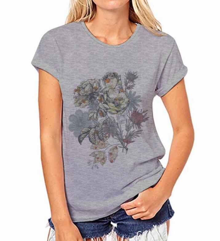 Grey T-shirt Flower Round Collar  Short Sleeve Summer  Fashion Sexy Design Casual Round Neck T-shirts