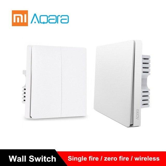 Interruptor de pared Xiaomi Aqara interruptor de luz ZigBee versión de un solo fuego/cero fuego/interruptor inalámbrico APP Control remoto inteligente kit de casa