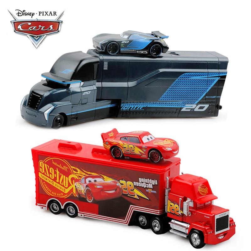 Disney Pixar voitures 2 3 jouets foudre McQueen Jackson tempête Mack oncle camion 1:55 moulé sous pression modèle voiture pour enfants cadeaux de noël