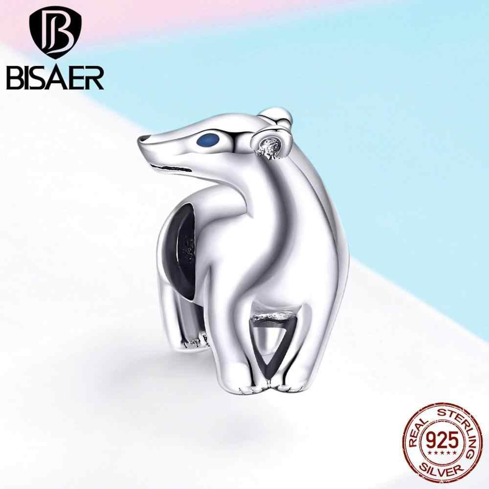 BISAER 925 เงินสเตอร์ลิง French Bulldog สุนัขสัตว์หมีแพนด้าลูกปัดยุโรป Charms พอดี Original เงิน 925 ทำ