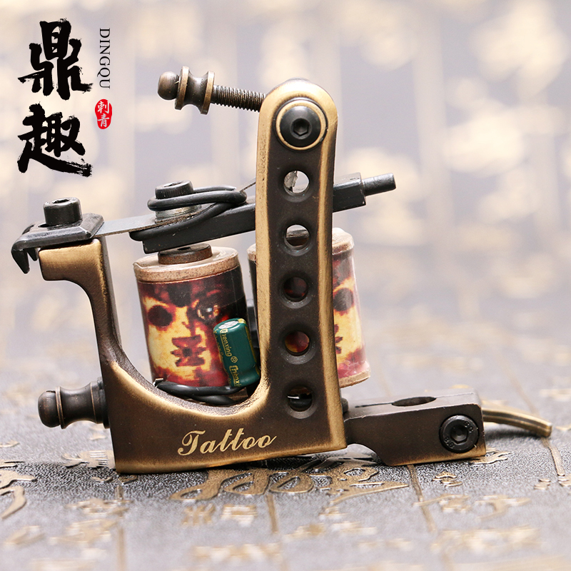 New Arrive Pure Copper Handmade Tattoo Machine Shader Dual 10 Wrap Coils Tattoo Supplies Free Shipping TM454 2014 new free shipping dual display hk 809 with waistbelts machine for pedicure
