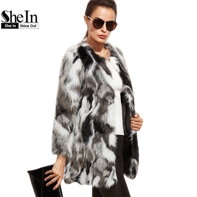 b81c114f73 SheIn 2016 Winter Elegant Women Outerwear Coats Color Block Long Sleeve  Multicolor Collarless Women Faux Fur