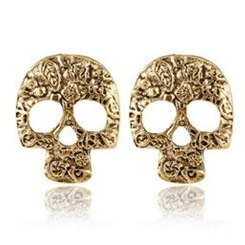 ER555  2015 AliExpress Hot European and American fashion retro wild personality skull pendant Stud Earrings for women