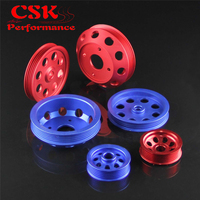 Light weight Aluminum Crank Pulley Kit Fits For 1989 1998 Nissan Silvia SR20DET 240SX S13 S14 S15 Blue/Red