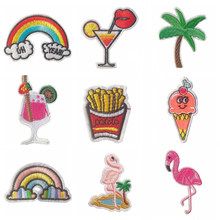 1 PCS Cartoon Stickers for Clothes Parches Flamingo Rainbow Patch for Backpack Handbag Patches for Clothing Iron Cloth Stripes(China)