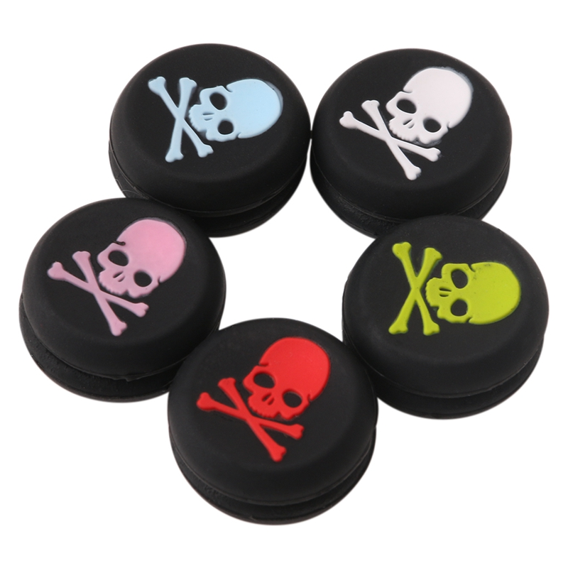 High Quality 2019 New 10x Silicone Skull Head Analog Controller Thumbstick Grip Cap For Play Station 4