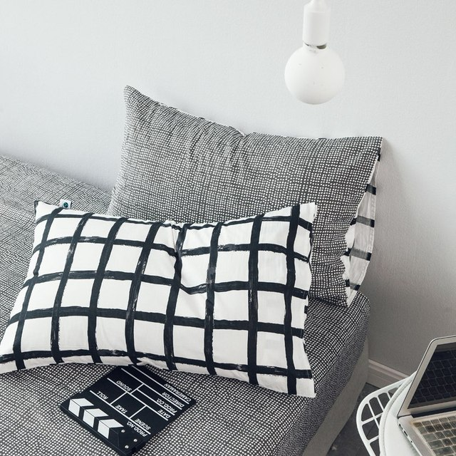 White and black striped plaid bedding sets simple fashion style bed linen duvet cover bed sheet pillow case set king queen size