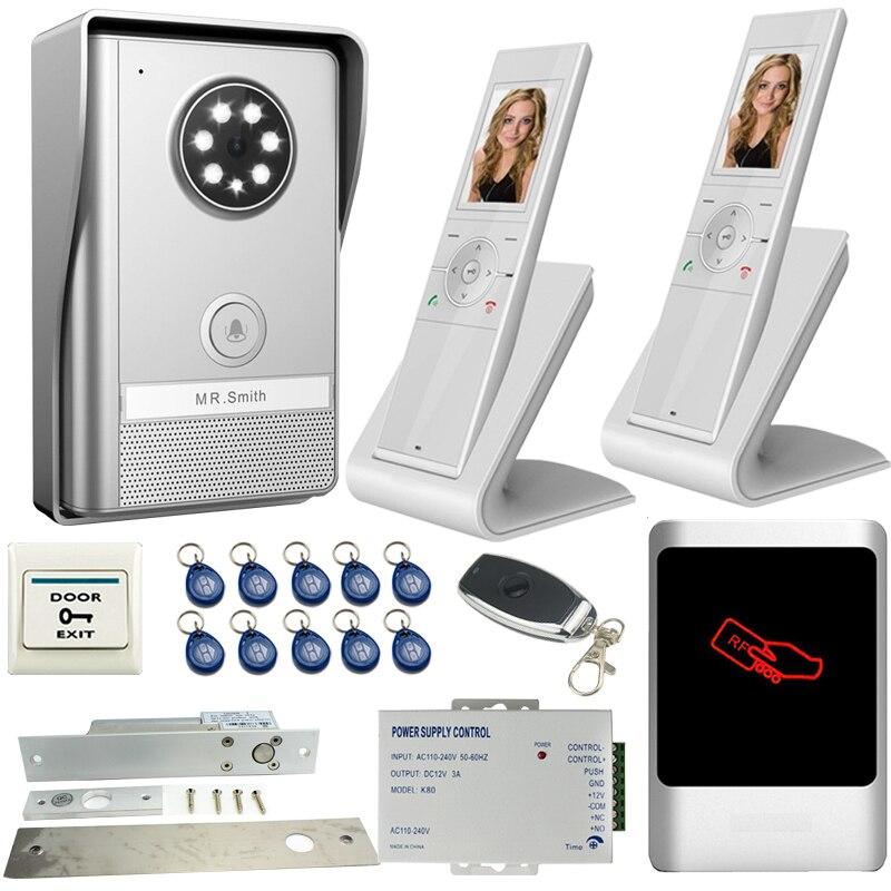 JEX Wireless Video Doorbell Door Phone Intercom System KIT Dustproof infrared night vision camera +RFID Access controller 1V2