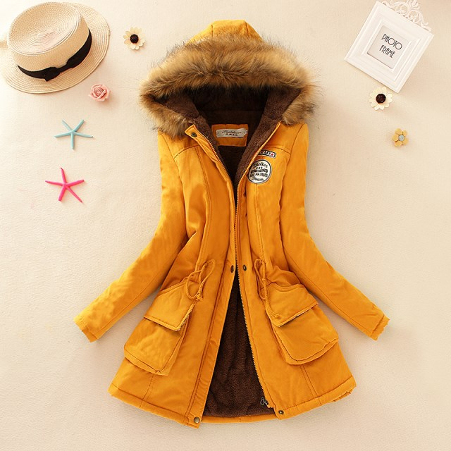 HTB1l2YBXdfvK1RjSszhq6AcGFXad 2019 Winter New Women's Hooded Fur Collar Waist And Velvet Thick Warm Long Cotton Coat Jacket Coat