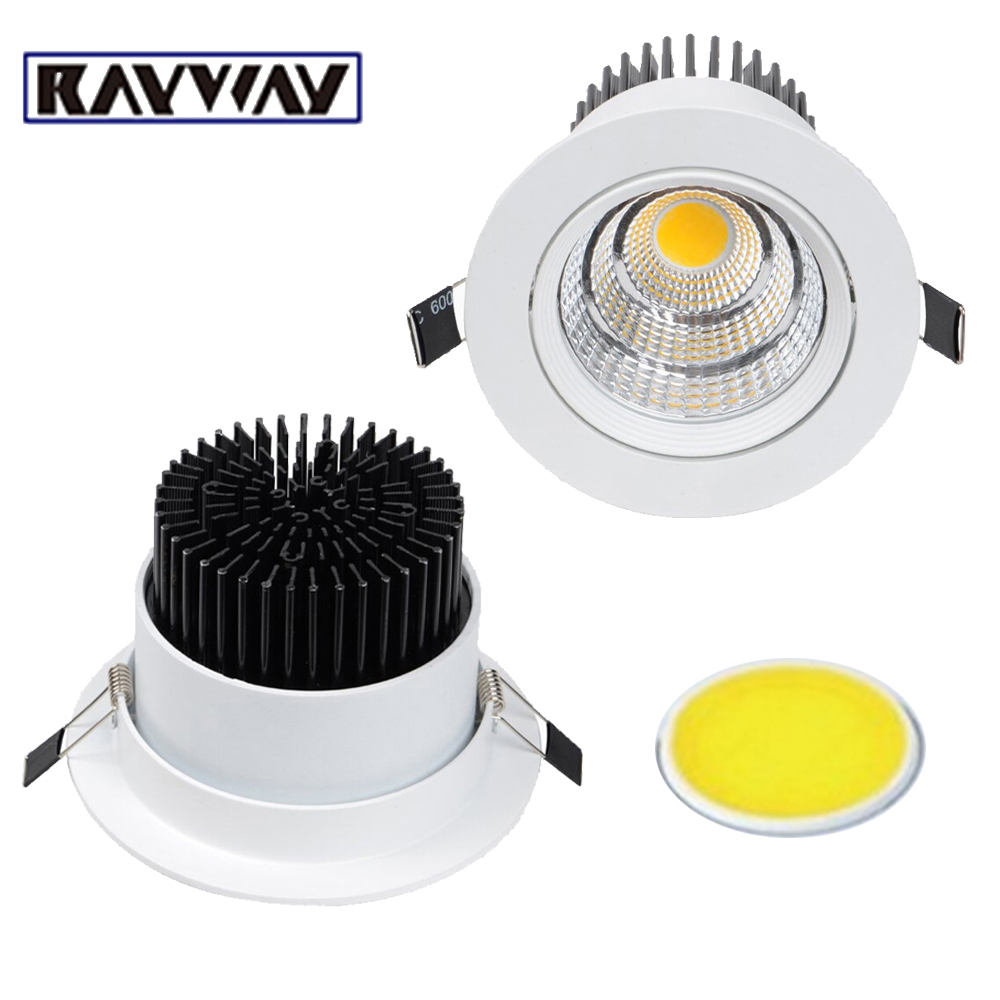 RAYWAY Recessed COB Ceiling Down light 5W 7W 10W 15W 20W 25W Modern Dimmable led ceiling Lamp Cellular reflector LED Spot lights rayway new dimmable 5w led cob ceiling downlight ac85 265v recessed cob down light led ceiling lamp wardrobe showcase lighting