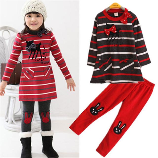 Nuevos niños de la llegada ropa pequeño cervatillo raya dress muchacha de la historieta del traje de gato lindo/2 unids de manga larga dress + set de muchacha de las polainas