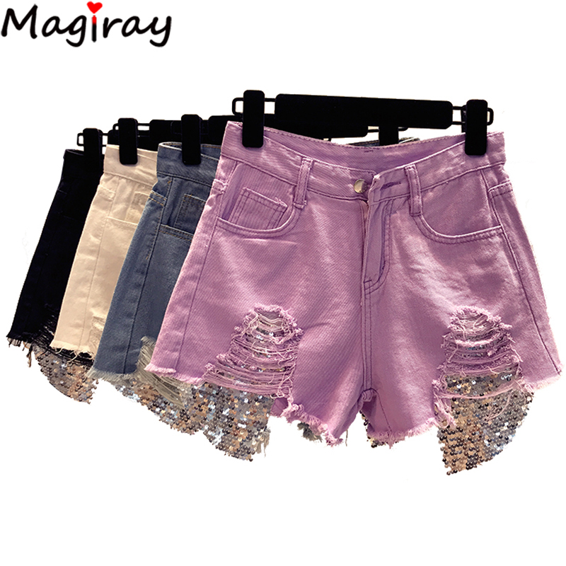 Magiray Sexy Sequines Plus Szie Hole Denim   Shorts   Women 2019 High Waist Harajuku Korean Style Loose Jeans Lady   Shorts   Femme C332