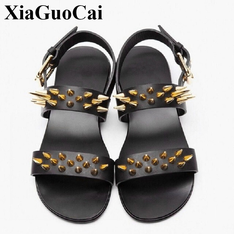 Gladiator Men Sandals for Summer Fashion Rivet Ankle Strap Flats Leather Sandals England Bling Black Men Beach Shoes H273 35