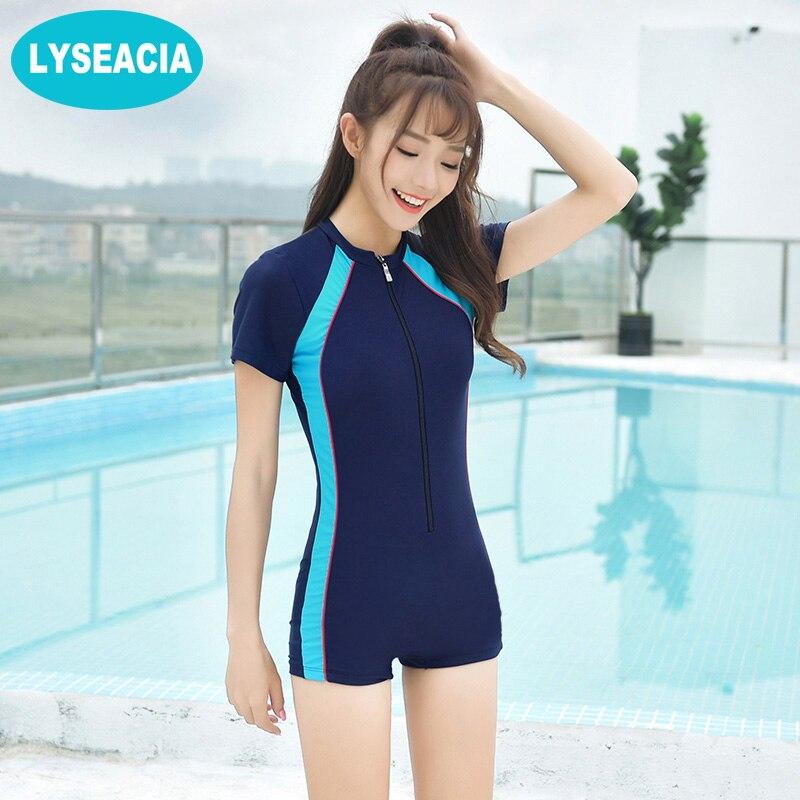 0921225e6fb0c M-4XL Sports Swimwear Zipper One Piece Swimsuits Women Short Sleeve Swimming  Suit Dark Blue Swimsuit Female Plus Size Rompers