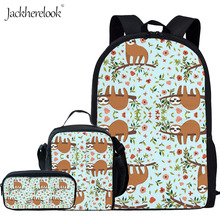 Jackherelook Cute Girls Floral Sloth Print School Backpack Kids Schoolbag for Teenage Student Child Bag Shoulder Bags Set