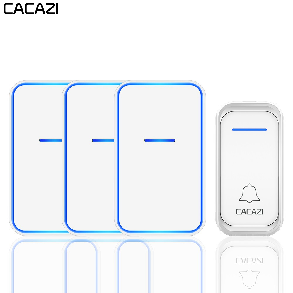CACAZI Wireless Doorbell Waterproof 1 Button 3 Receiver US EU UK AU Plug Home Welcome Call LED Light Door Bell Wireless ChimeCACAZI Wireless Doorbell Waterproof 1 Button 3 Receiver US EU UK AU Plug Home Welcome Call LED Light Door Bell Wireless Chime