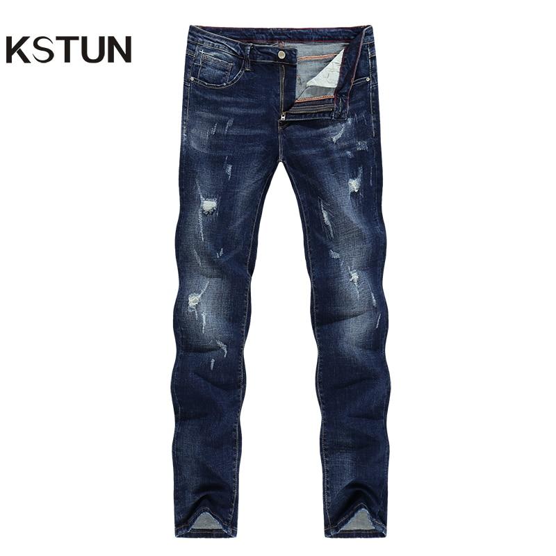 KSTUN Denim Mens Jeans Hip Hop Winter Elasticity Patchwork Ripped Distressed Streetwear Moto Biker Jean Male Casual Denim Pants