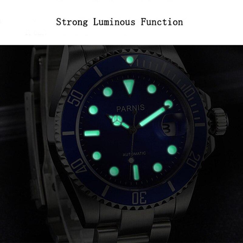 40mm masculino relógio automático relógios mecânicos trítio cerâmica mergulho 100m aço mekanik erkek kol saati reloj automatico parnis - 4