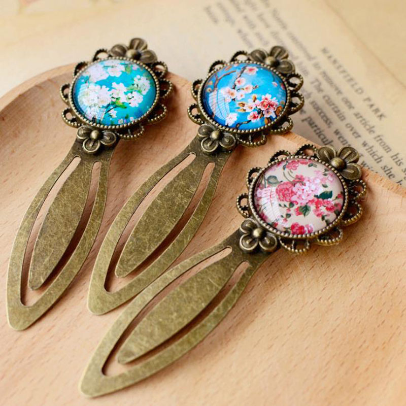 1 Pcs Retro Flower Metal Lace Vintage Bookmark Creative Glass High Quality Korean School Stationery Supplies Student Gift