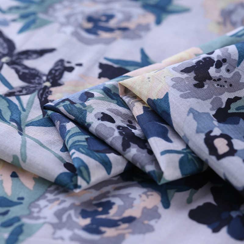 SLK12 100X140 см синий красный цветы Летняя шелковая ткань хлопковая ткань для женщин платье 2018 шелк шарф шелковая ткань для одежды для DIY