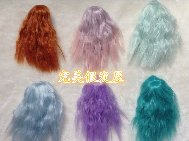 Customize bangs 12cm head 1/12 Kurhn Doll curly doll  wig For 1/12 Kurhn Doll  factory direct sale cute sexy cosplay wig full bangs curly