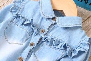 Image 2 - מזדמן תינוק בנות ינס חולצות ארוך שרוול רך ילדי ג ינס חולצה כותנה ילדים של ג ינס צמרות תלבושות 2 8 שנים
