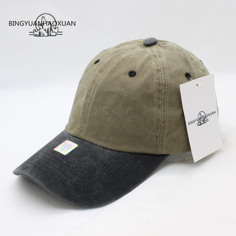 BINGYUANHAOXUAN Mixed colors Washed Denim Snapback Hats Autu