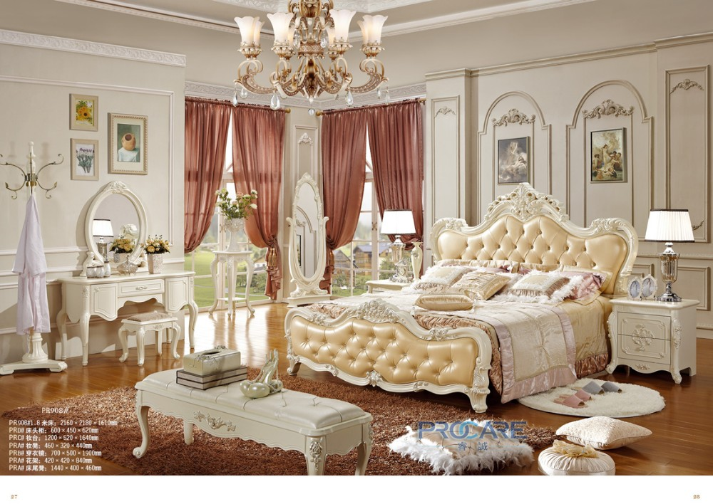 luxury solid rose wood and leather bed baroque bedroom furniture rh aliexpress com Baroque Dining Furniture French Baroque Bedroom Furniture