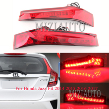 MIZIAUTO Rear Tail Light 2PCS For Honda Jazz Fit 2014 2015 2016 2017 Car LED Warning Light Brake Light Rear Bumper Light цена