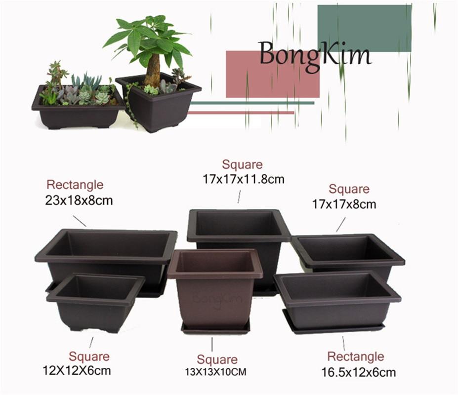 1Set Flower Pot With Tray Balcony Square Flower Bonsai Bowl Nursery Basin Pots Planter Imitation Plastic Rectangle Flower Pots