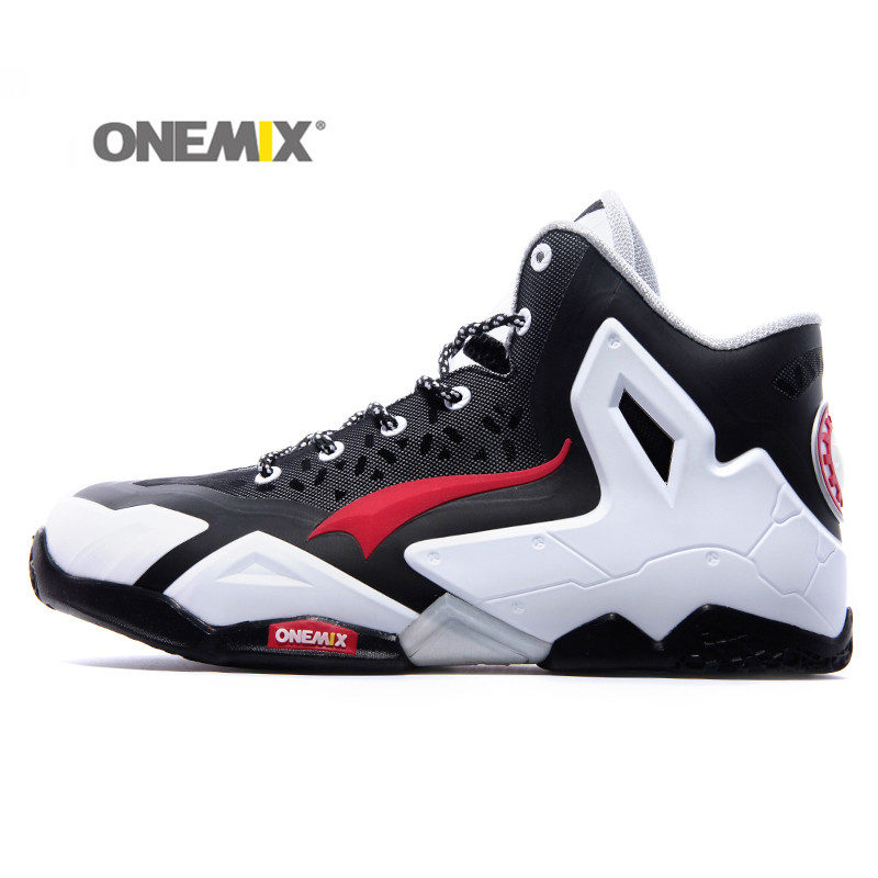ФОТО Onemix Men's Leather Upper Basketball Shoes High Shoes Breathable Damping Rubber Sneakers Deodorizing Cushion Shoes