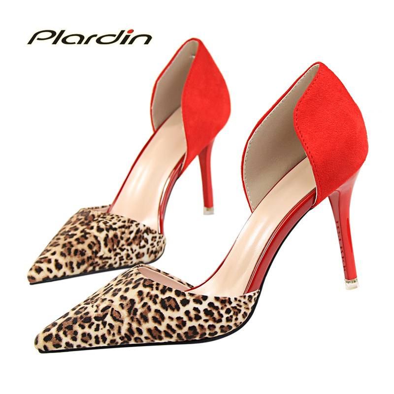plardin New Shoes Woman Sweet Pointed Toe Ruffles Women Party Wedding Metal Leopard Shallow Mouth Two Piece Side High Heel Pumps 2017 shoes woman fashion sweet bowtie pointed toe sexy women party shallow mouth side hollow women thin high heel shoes