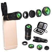 5 In 1 198 Degree Fisheye Fish Eye 12X Telephoto Lens Macro Wide Angle Lens Mobile Phone Camera Lens Universal for Phones