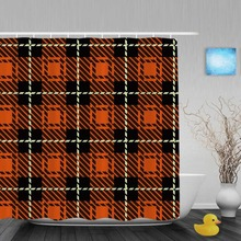 Seamless Knitting Pattern Decor Bathroom Shower Curtains Orange Black Grid Curtain Waterproof Polyester Fabric With