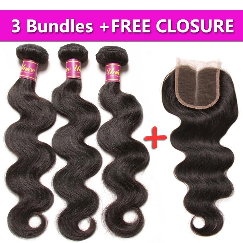 UNICE HAIR Malaysian Body Wave Hair 3 Bundles Send One Free Closure Natural Color Human Hair