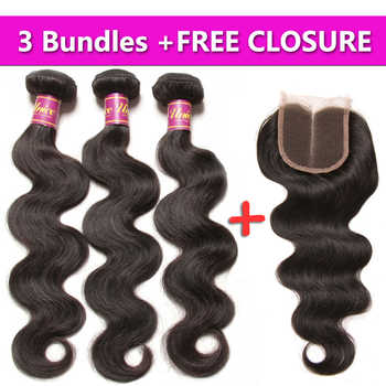UNICE HAIR Malaysian Body Wave Hair 3 Bundles Send One Free Closure Natural Color Human Hair Weave Remy Hair Weft 8-30inch - DISCOUNT ITEM  30% OFF All Category