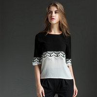 Black And White Stitching Large Size Chiffon Shirt Blusas Elegant Fashion Loose Lace Pattern Summer Shirt