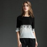 Black And White Stitching Large Size Chiffon Shirt Blusas Elegant Fashion Loose Lace Pattern Summer Shirt